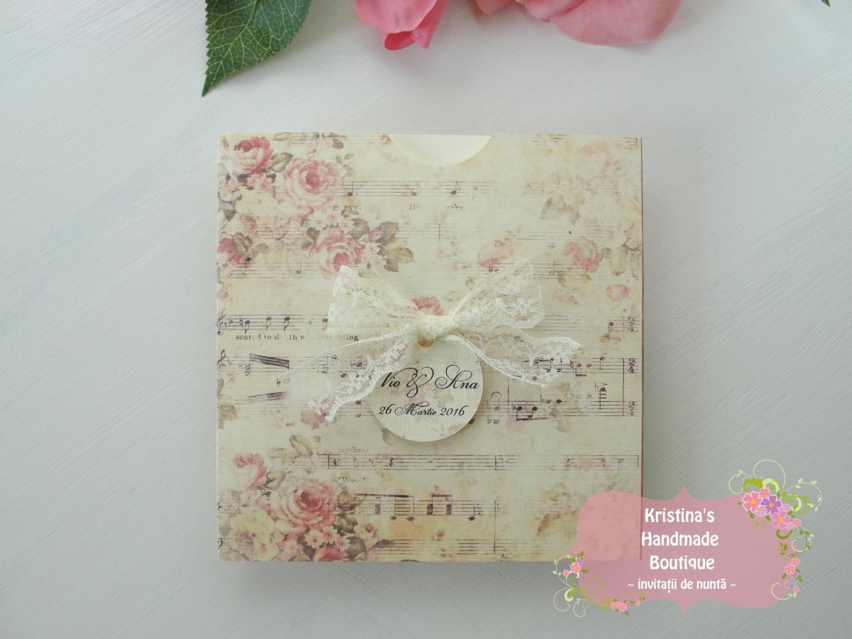Invitatie handmade vintage cu dantela si note muzicale