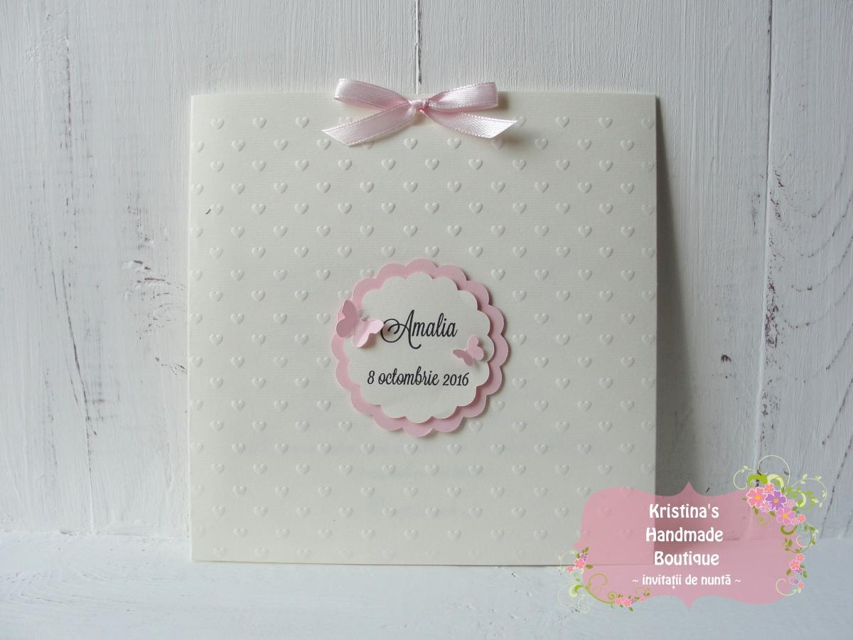 Invitatie handmade de botez cu fluturi roz pentru fete