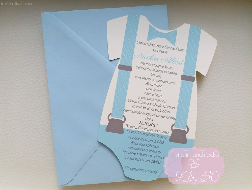 Invitatie De Botez In Forma De Body Invitatii K M