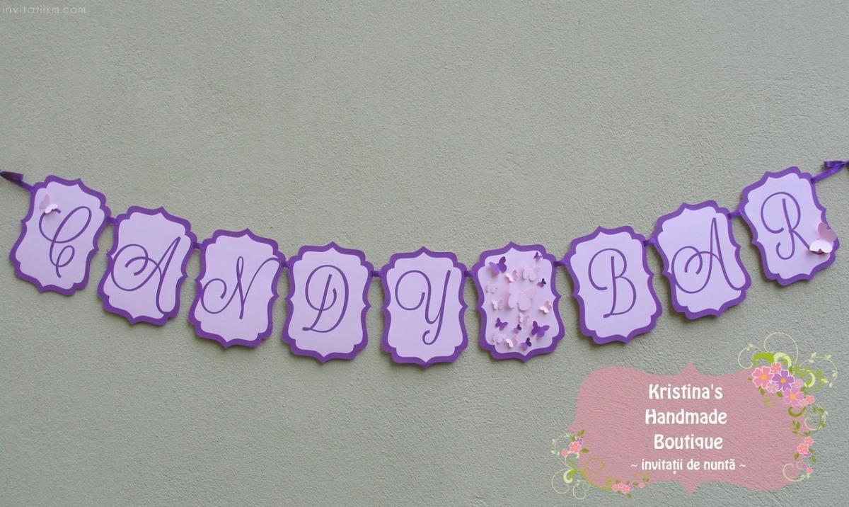 Ghirlanda candy bar cu fluturi roz si mov