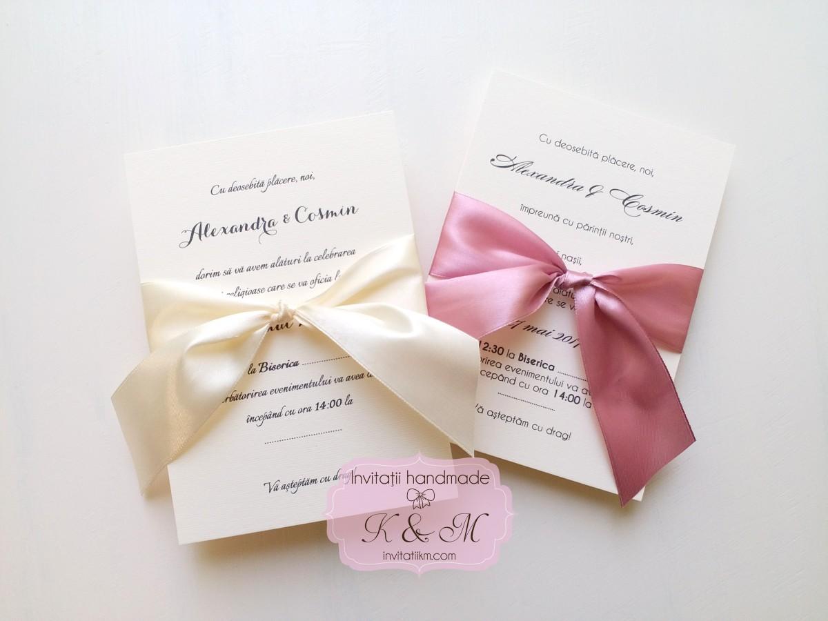 Invitatii de nunta cu panglica eleganta