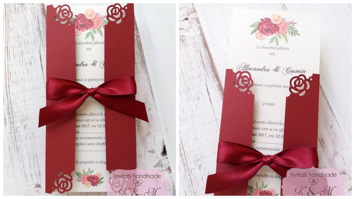 Invitatii de nunta cu flori bordeaux