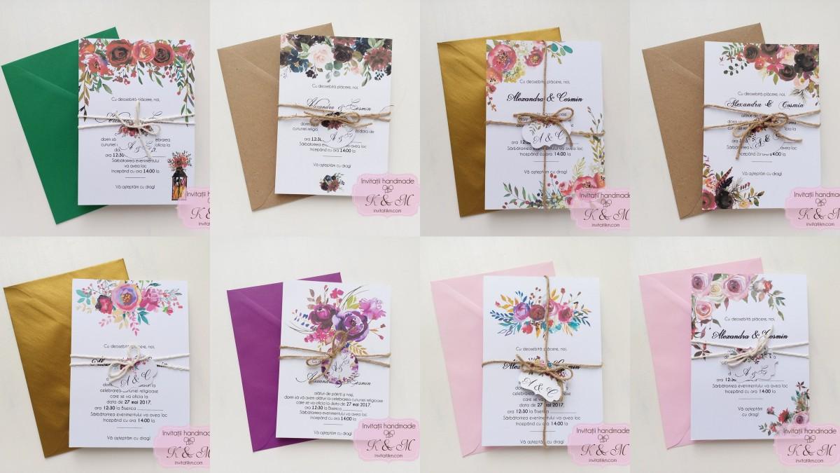 Invitatii de nunta cu flori pictate, sfoara si eticheta cod 103