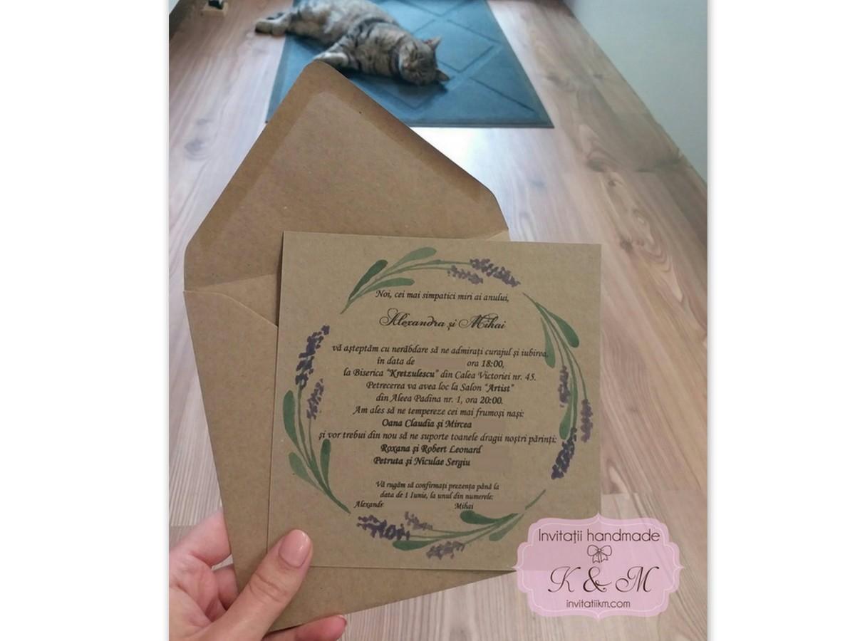Invitatii de nunta cu lavanda si carton reciclat cod 119