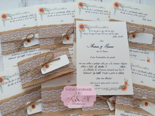 Invitatii De Nunta Rustice Cu Floarea Soarelui Cod 158 Invitatii K M