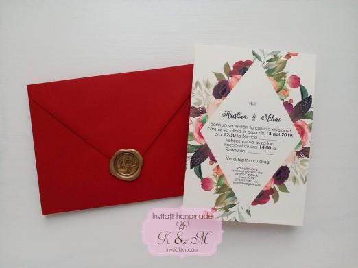 Invitatii De Nunta Cu Flori Burgundy Si Sigiliu Cod 147 Invitatii