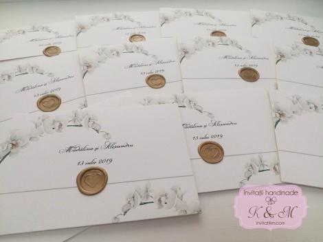 Invitatii De Nunta Cu Orhidee Si Sigiliu Cod 155 Invitatii K M