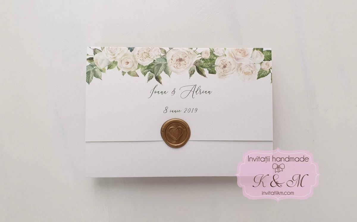 Invitatii de nunta cu flori si sigiliu cod 155